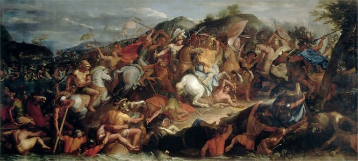 Darius III flees during the Battle of Gaugamela