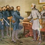 Robert E. Lee surrenders to Grant