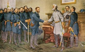 Robert E. Lee surrenders to Grant