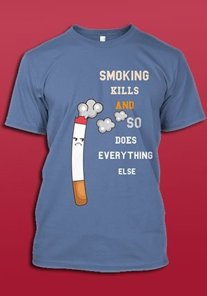 T-Shirt with cigarette and smoke