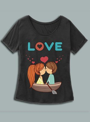 Valentine's Day Love T-Shirt with cute couple