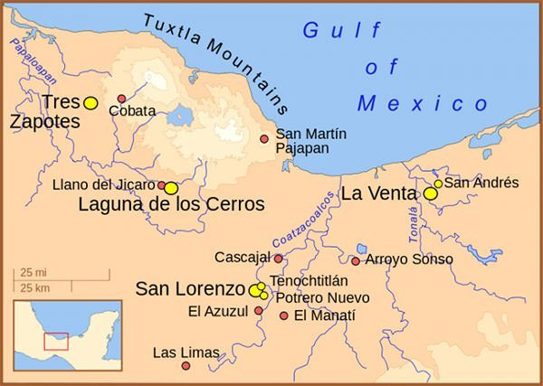Olmec civilization map