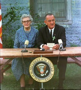 President Johnson at the ESEA signing ceremony