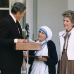 Mother Teresa receiving the Presidential Medal of Freedom