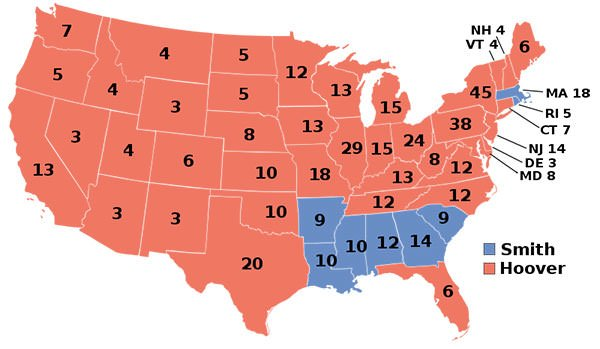1928 US Presidential Election Electoral College Result