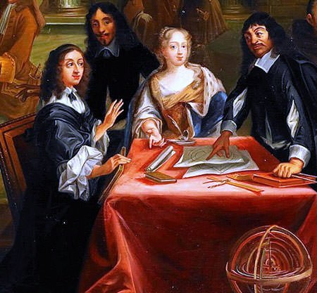 Queen Christina of Sweden with Rene Descartes