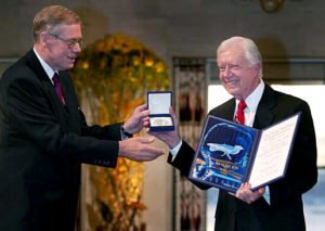 Jimmy Carter receiving the 2002 Nobel Peace Prize