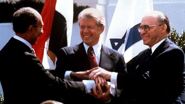 Carter with Menachem Begin and Anwar el-Sadat
