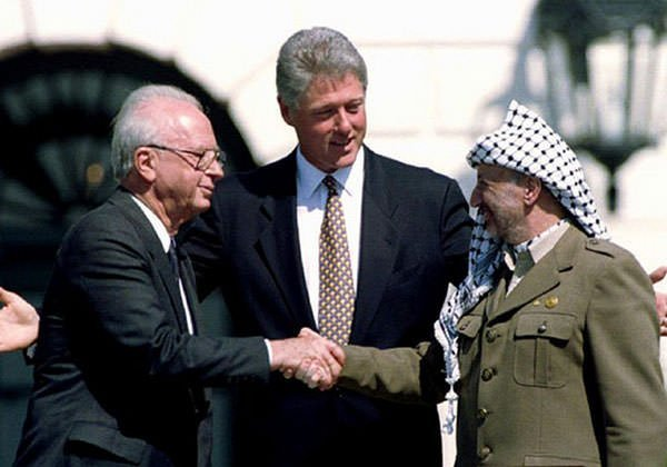 Yitzhak Rabin, Bill Clinton and Yasser Arafat