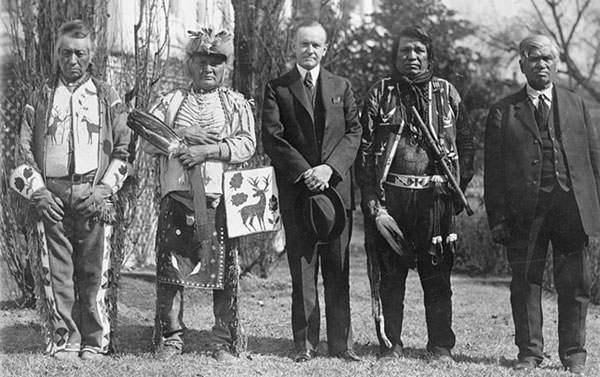 President Coolidge after signing of the Indian Citizenship Act