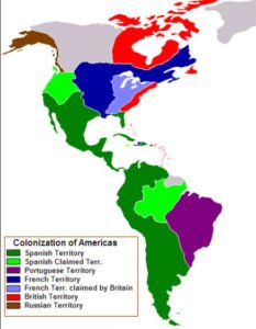 Map of European colonization of the Americas