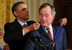 George H. W. Bush being awarded Presidential Medal of Freedom