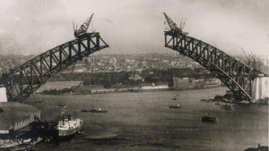 The Sydney Harbour Bridge under construction