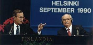 President George H. W. Bush with Mikhail Gorbachev