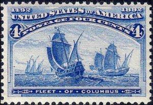 US postage stamp of Columbus fleet