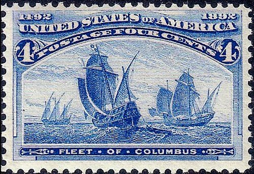 US postage stamp of Columbus fleet