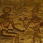Pharaoh Ramses II making an offering to Ra