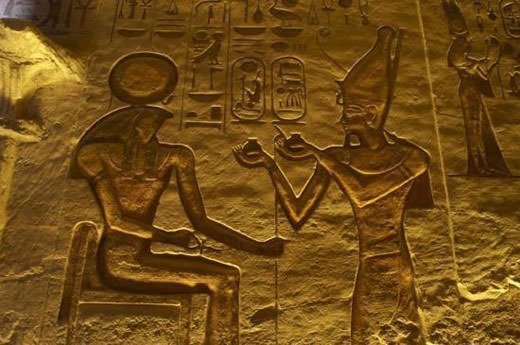 Pharaoh Ramses II making an offering to Ra