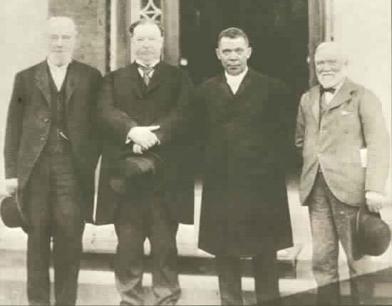 Booker T Washington with Robert C. Ogden, William Howard Taft and Andrew Carnegie