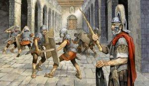 Roman soldiers training