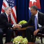 Barack Obama with Raul Castro