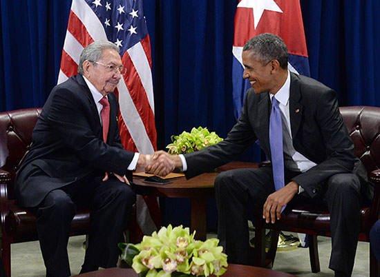 Barack Obama with Raul Castro