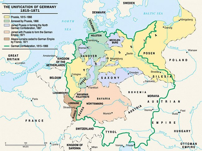 Map of Unification of Germany