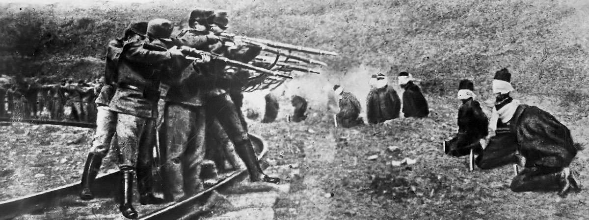 Serbian civilians being executed by Austro-Hungarian forces