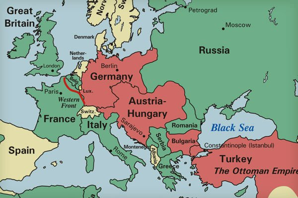 Map of major alliances in WW1