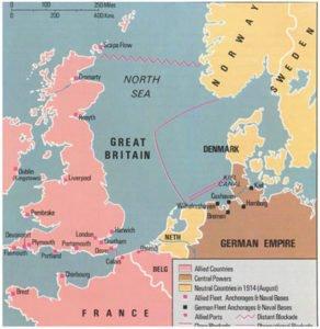 British naval blockade of Germany map
