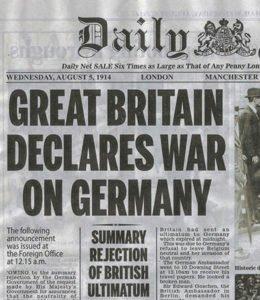 Britain's declaration of war on Germany