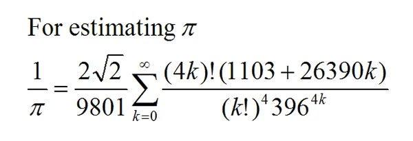 Ramanujan pi formula
