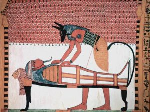 Anubis attending the mummy of the deceased Sennedjem