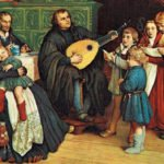 Martin Luther playing the lute to his family