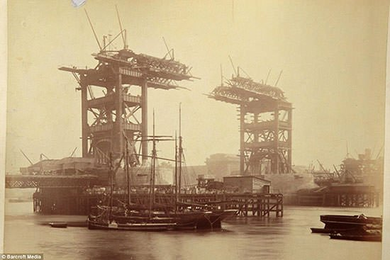 Tower Bridge under construction