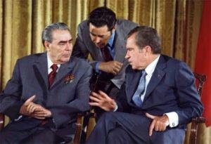President Nixon with Leonid Brezhnev