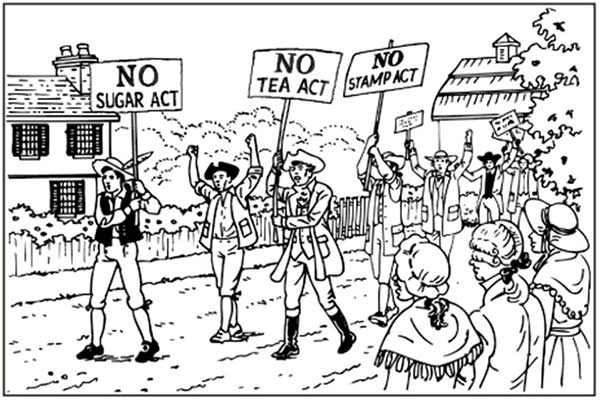 American Revolution taxation protests cartoon