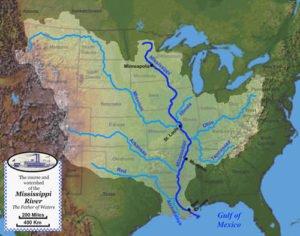 Mississippi River major tributaries map