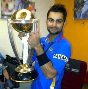 Virat Kolhi 2011 World Cup Trophy
