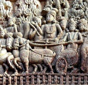 King Ashoka on his chariot