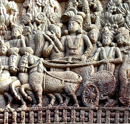 King Ashoka on his chariot