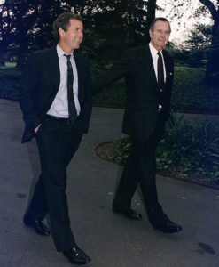 George W Bush with his father