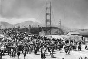 Opening day of Golden Gate Bridge