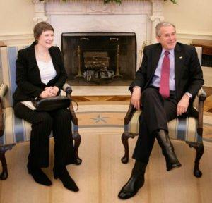 George W Bush with Helen Clark