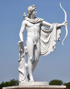 Statue of Apollo with bow and arrow