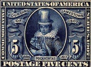 Stamp featuring Pocahontas