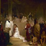 Baptism of Pocahontas painting