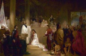 Baptism of Pocahontas painting
