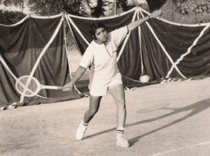 Kiran Bedi while playing tennis