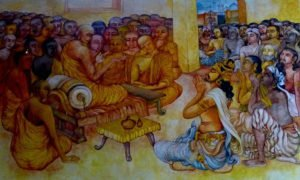 Painting of Ashoka and Monk Moggaliputta-Tissa